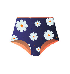 Cute blue panties with floral design isolated on vector