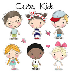 Cute cartoon girls and boys vector