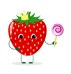 Cute strawberry cartoon character with crown holds vector