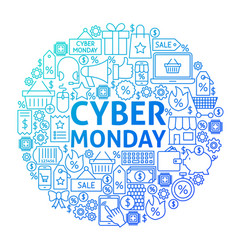 cyber monday line circle design vector image