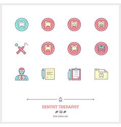 Dentist therapist line icons set vector