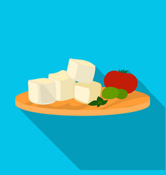 diced cheese feta with tomatoes and olives on the vector image
