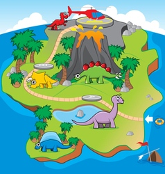Dinosaurs island game vector