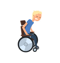 disabled man trying to get up from wheelchair vector image
