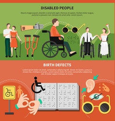 disabled person flat banner set vector image