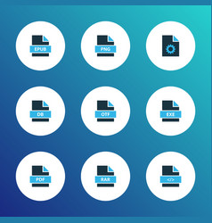 Document icons colored set with file rar otf vector