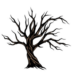 Dry scary tree template vector