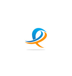 e initial abstract colored logo vector image