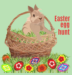 easter egg hunt poster banner template vector image