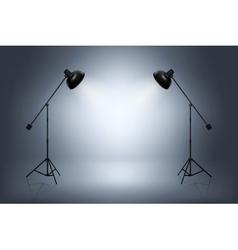 Empty photo studio with spotlights Realistic vector