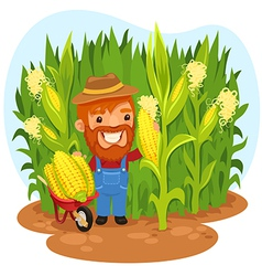 Farmer in a cornfield vector