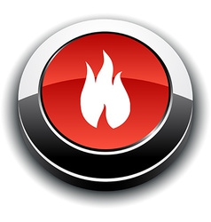 Fire 3d round button vector