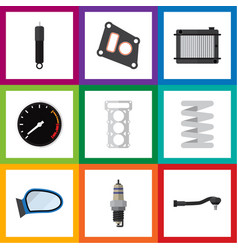 Flat icon auto set of heater packing input vector