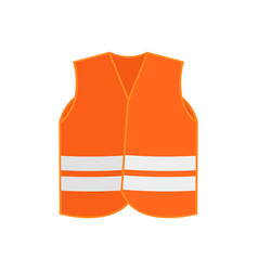 Flat icon of orange safety vest waistcoat vector