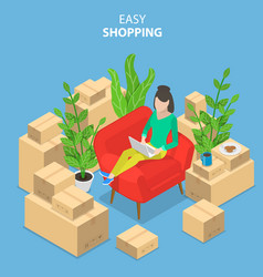 flat isometric concept of easy shopping e vector image