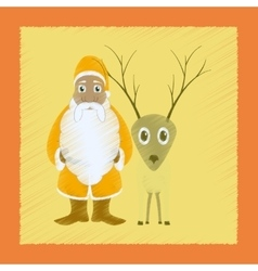 Flat shading style icon santa claus reindeer vector