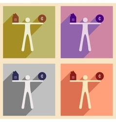 Flat with shadow concept icon man holding house vector image