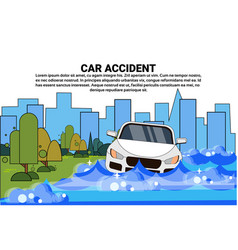 flooded car accident with vehicle trying to drive vector image