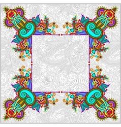 Floral frame ethnic ukrainian ornament vector