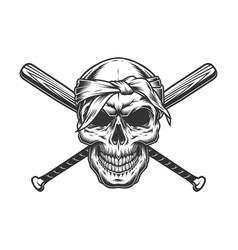 gangster skull in bandana vector image