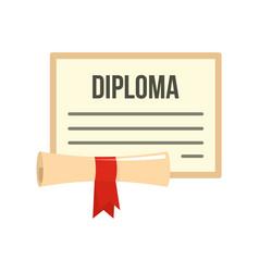 Graduation diploma icon flat style vector