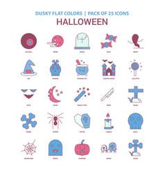 halloween icon dusky flat color - vintage 25 icon vector image