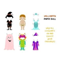 Halloween paper doll cartoon vector