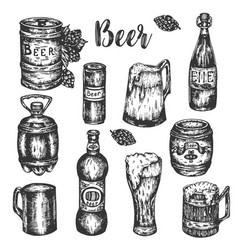 Hand drawn beer set vintage color engraving vector