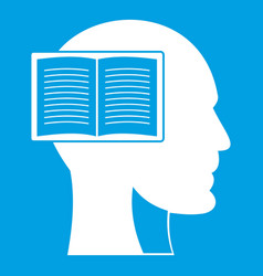 Head with open book icon white vector