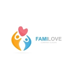 Heart and people logo combination vector