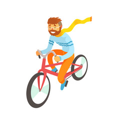 hipster man enjoying cycling sport lifestyle vector image