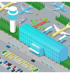 Isometric Airport Infrastructure with Planes vector