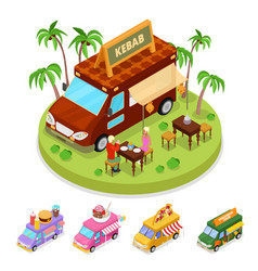Isometric street food kebab truck with people vector