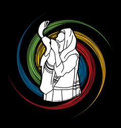 Jew blowing the shofar sheep horn vector