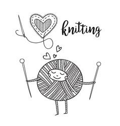 Knitting theme card with cute yarn ball character vector
