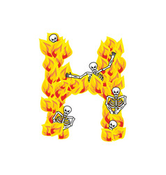 Letter h hellish flames and sinners font fiery vector