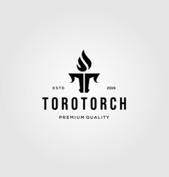 letter t torch and toro bull logo design vintage vector image