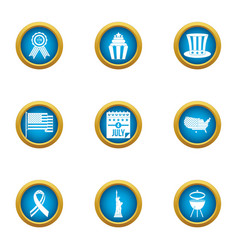 Liberation icons set flat style vector