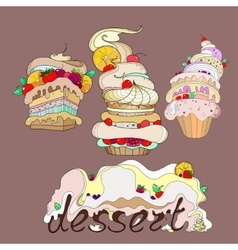llustration of three fantastic cakes with dessert vector image