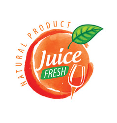 Logo orange juice splatter on white vector