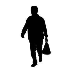 Men silhouette carry bag vector