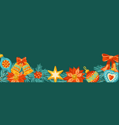 merry christmas invitation or greeting card vector image