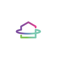 modern house symbol with gradient color logo vector image