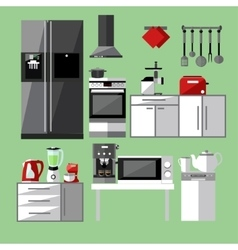 Modern kitchen appliances set vector