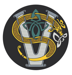 monogram in the celtic style with a dragon vector image
