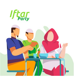 Moslem family dinner on ramadan kareem vector