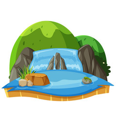 nature landscape waterfall and green hills vector image