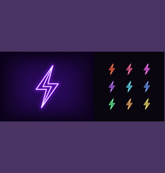 neon lightning flash icon glowing neon thunder vector image