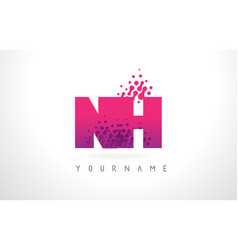 nh n h letter logo with pink purple color and vector image