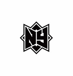 Ny monogram logo with square rotate style outline vector